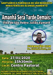 Formação com Pe. Gleidson Forte, sss na Paróquia São Benedito sobre vida de São Pedro Júlião nesta segunda dia 27