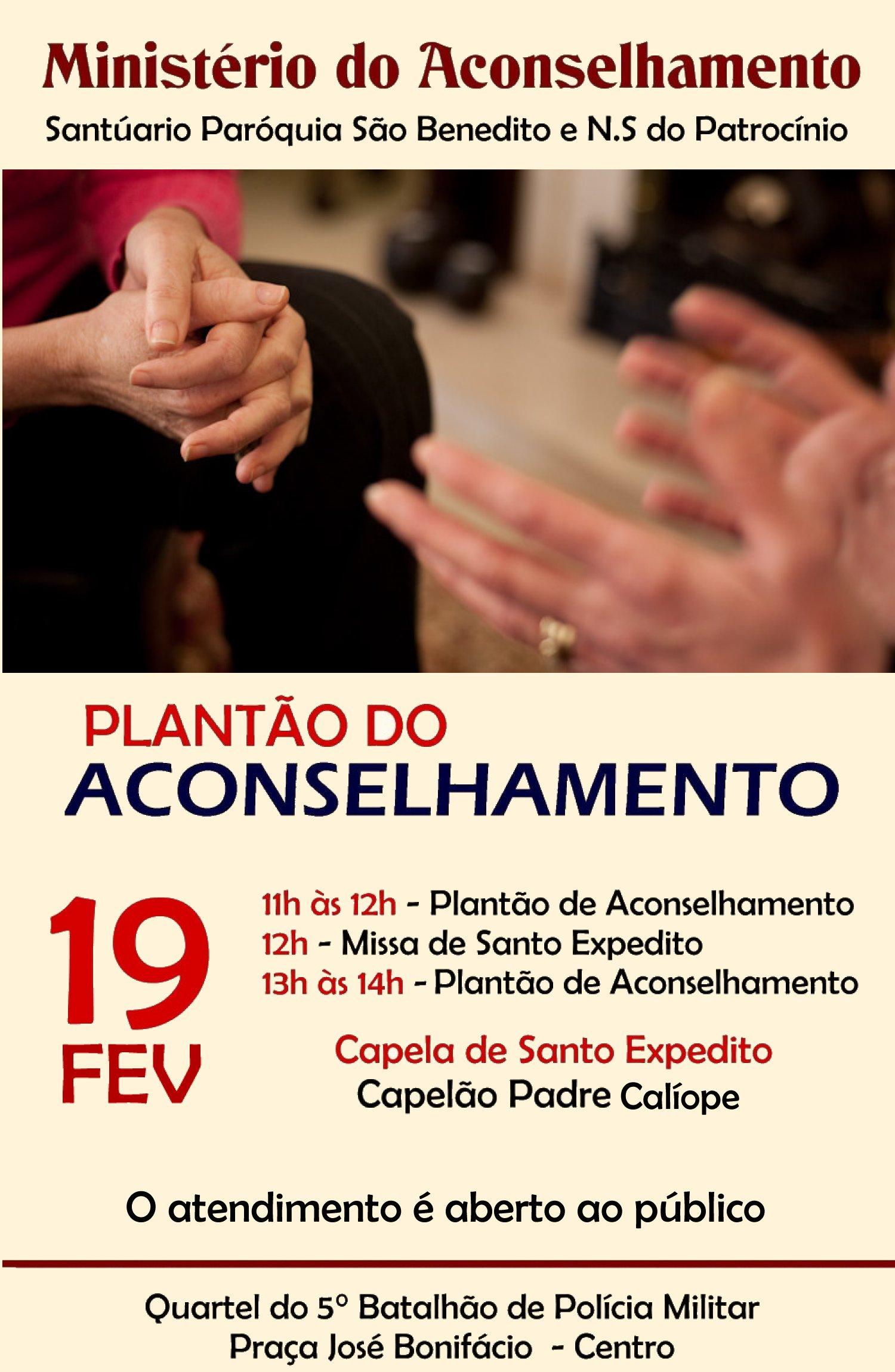 Mutirão do Aconselhamento no próximo dia 19/02 na Capela de Santo Expedito: Participe!