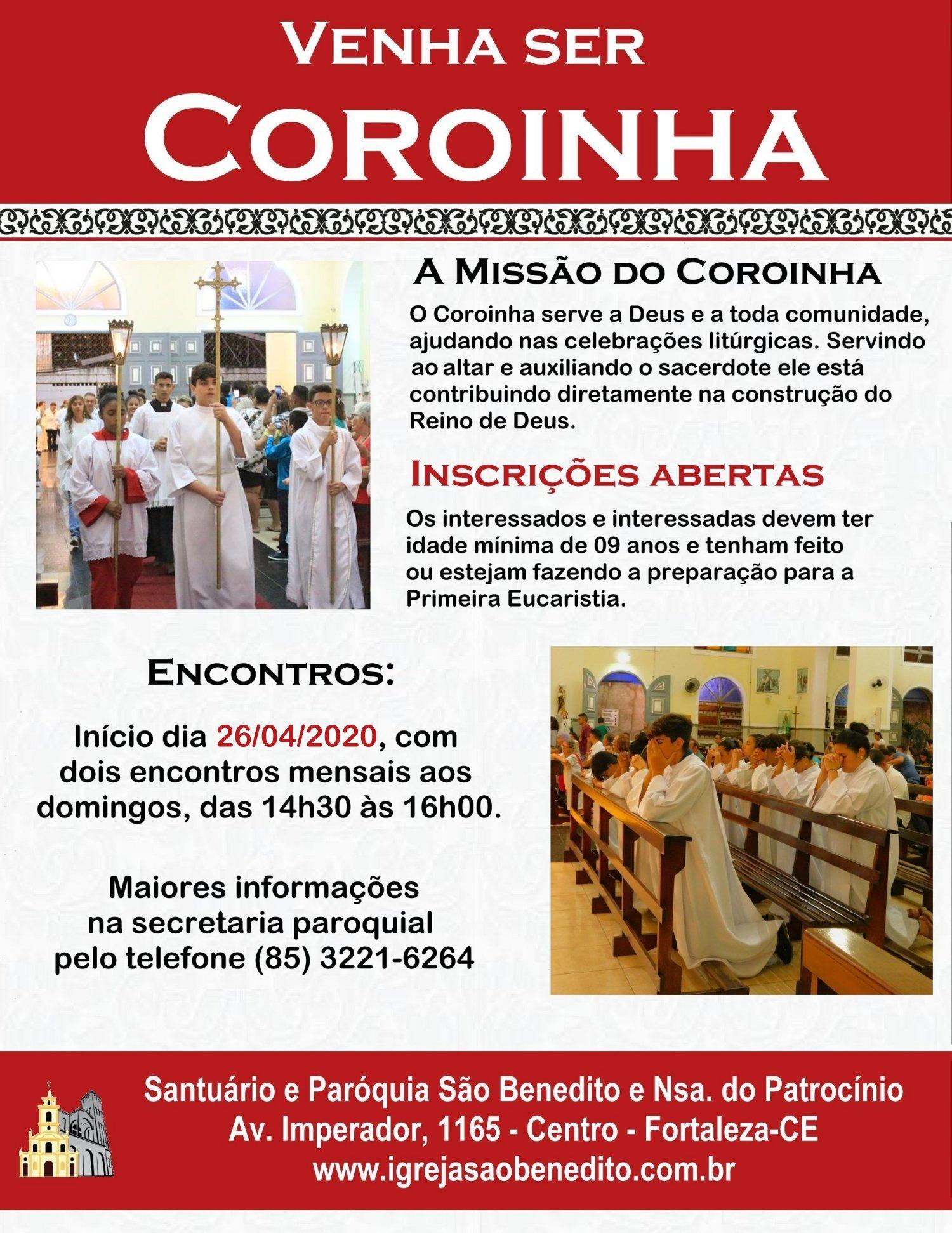 Inscrições abertas para novos coroinhas da Paróquia São Benedito