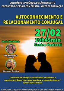 ECC realizará noite de formação no próximo dia 27/02 sobre autoconhecimento e relacionamento conjugal