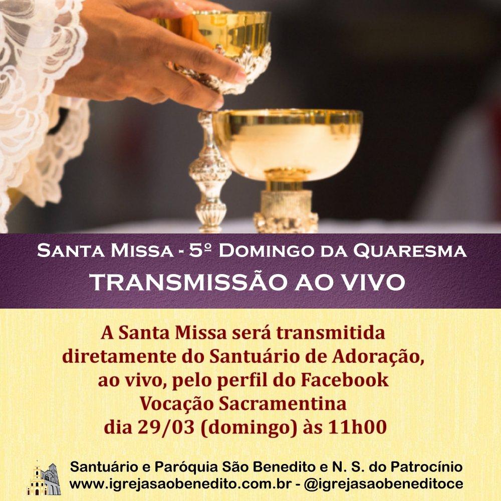 Santa Missa do Quinto Domingo da Quaresma ao vivo dia 29/03. Participe!