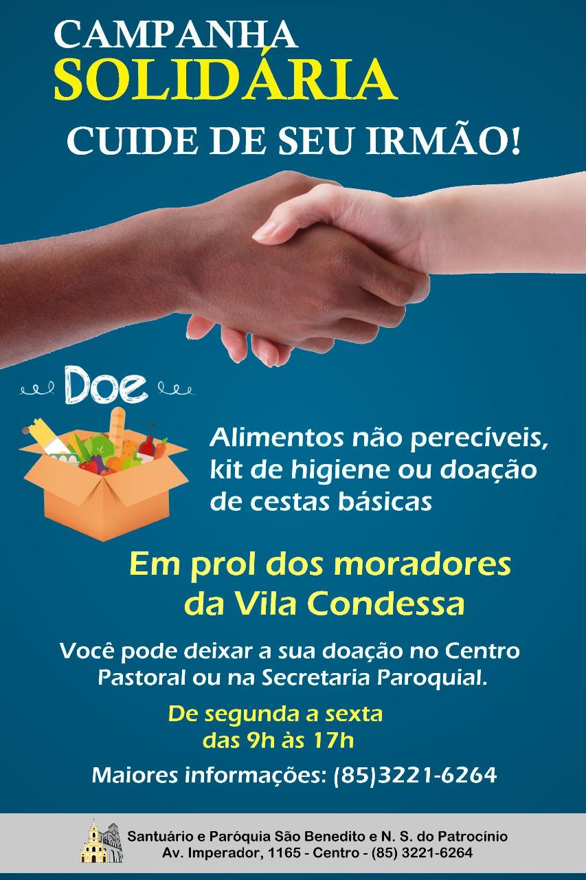 Campanha solidária Cuide de Seu Irmão em prol dos moradores da Vila Condessa