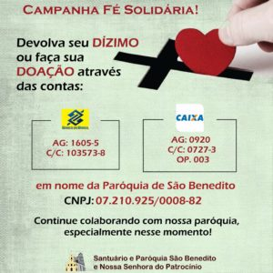 Campanha Fé Solidária em prol do nosso Santuário de São Benedito