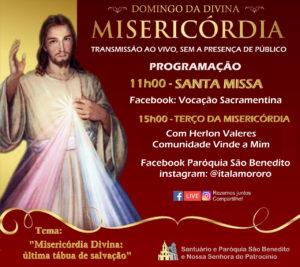 Confira a Programação do Domingo da Divina Misericórdia 2020 transmitido da Paróquia São Benedito