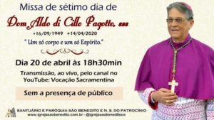 Missa de 7º dia de Dom Aldo Pagotto, sss será transmitida nesta segunda-feira 20