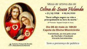 Missa de 7º dia de Celina de Souza Holanda, será transmitida nesta sexta-feira, 08/05