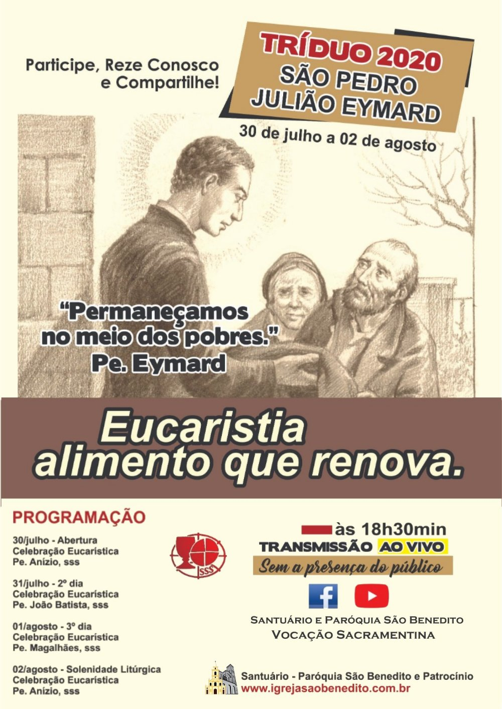 Tríduo e Festa de São Pedro Julião Eymard de 30/07 a 02/08 com transmissão ao vivo. Participe!