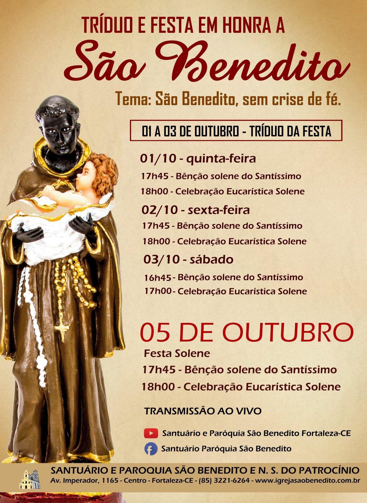 Participe do Tríduo e Festa em honra a São Benedito, de 01 a 03/10 e 05/10