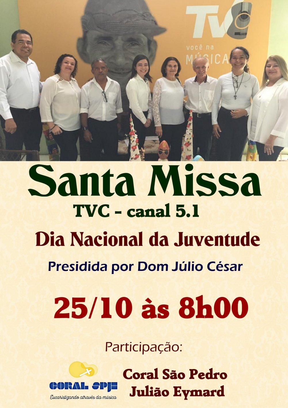 Coral São Pedro Julião Eymard celebrará Dia Nacional da Juventude (DNJ) na missa da TVC, 25/10.