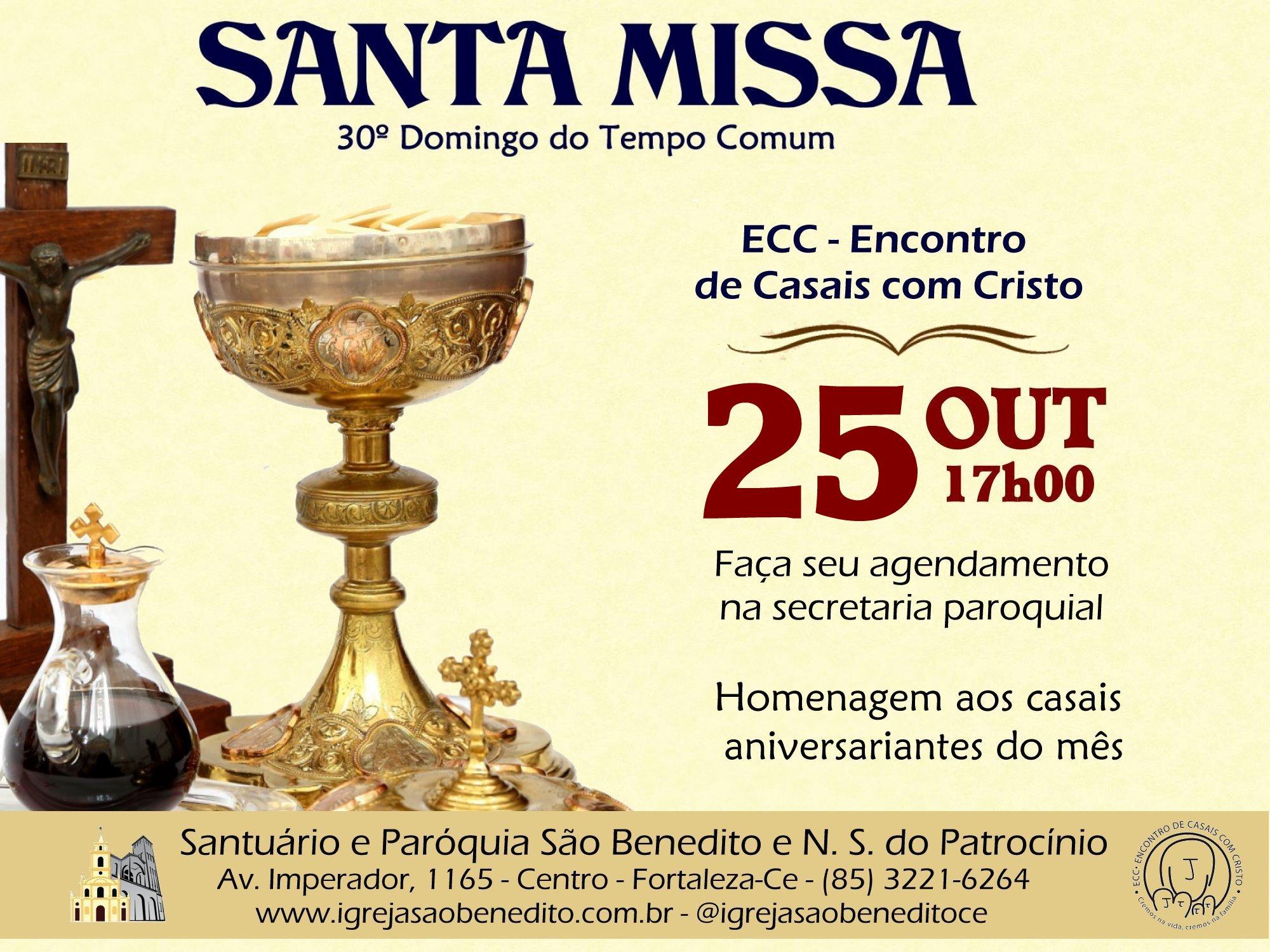 ECC – Encontro de Casais com Cristo convida para Santa Missa do mês de Outubro. Participe!