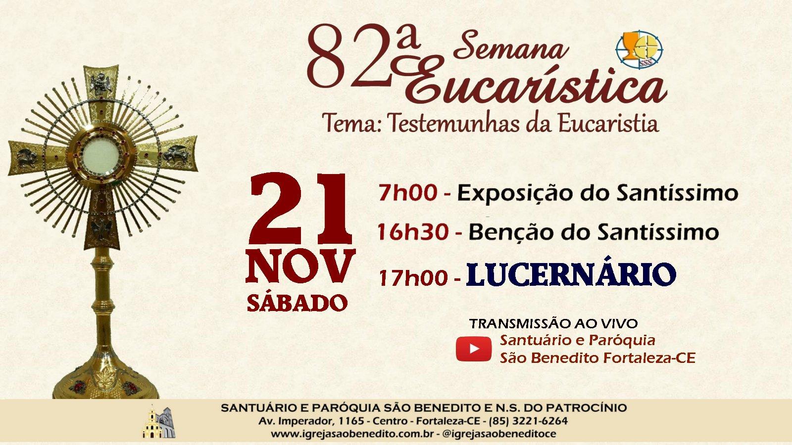 Paróquia São Benedito realiza sábado(21/11) o Lucernário na 82ª Semana Eucarística