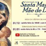 Horários das Celebrações de Ano Novo no Santuário São Benedito