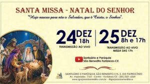 Horários das celebrações de Natal na Paróquia São Benedito.