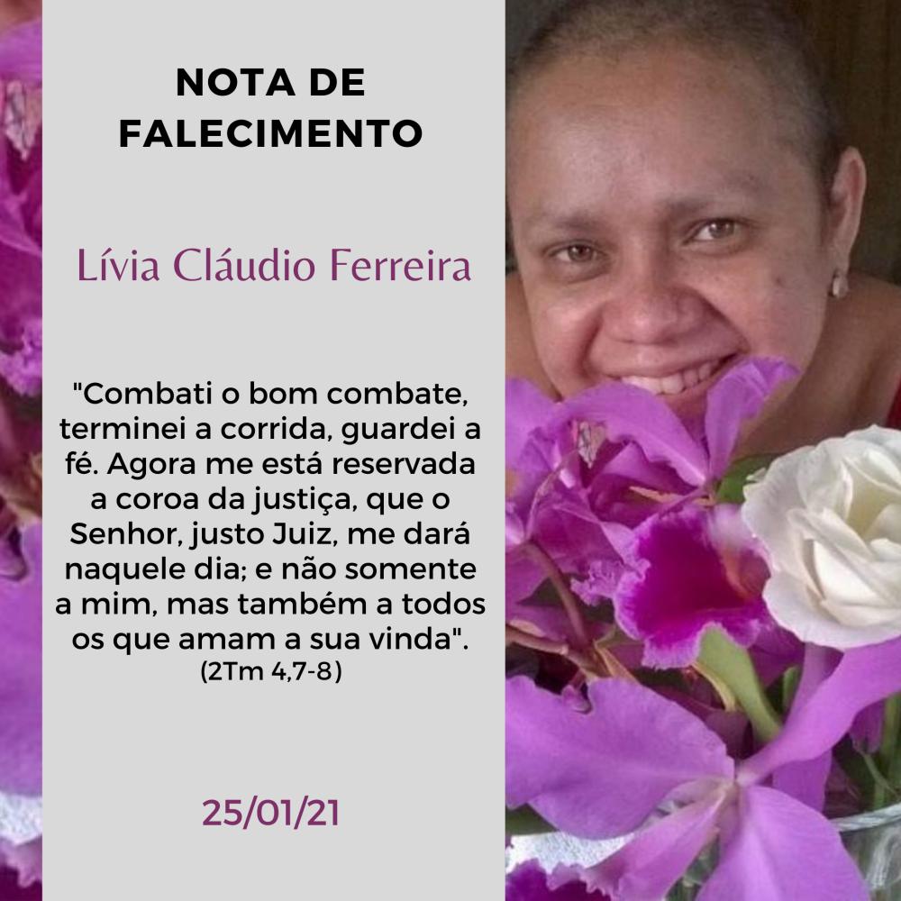 Nota de Falecimento: Livia (Esposa do Demontiex – ECC)