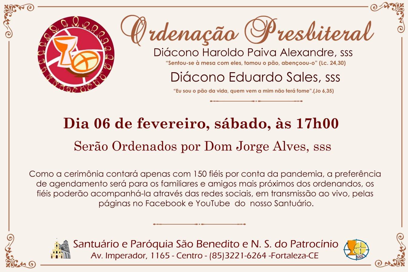 Ordenação Presbiteral dos Diáconos Haroldo Paiva, sss e Eduardo Sales, sss