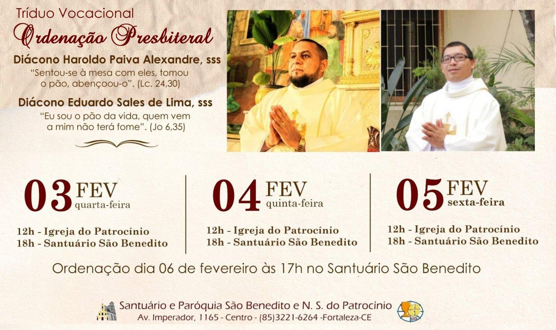 Tríduo Vocacional pela Ordenação Presbiteral dos Diáconos Haroldo Paiva, sss e Eduardo Sales, sss