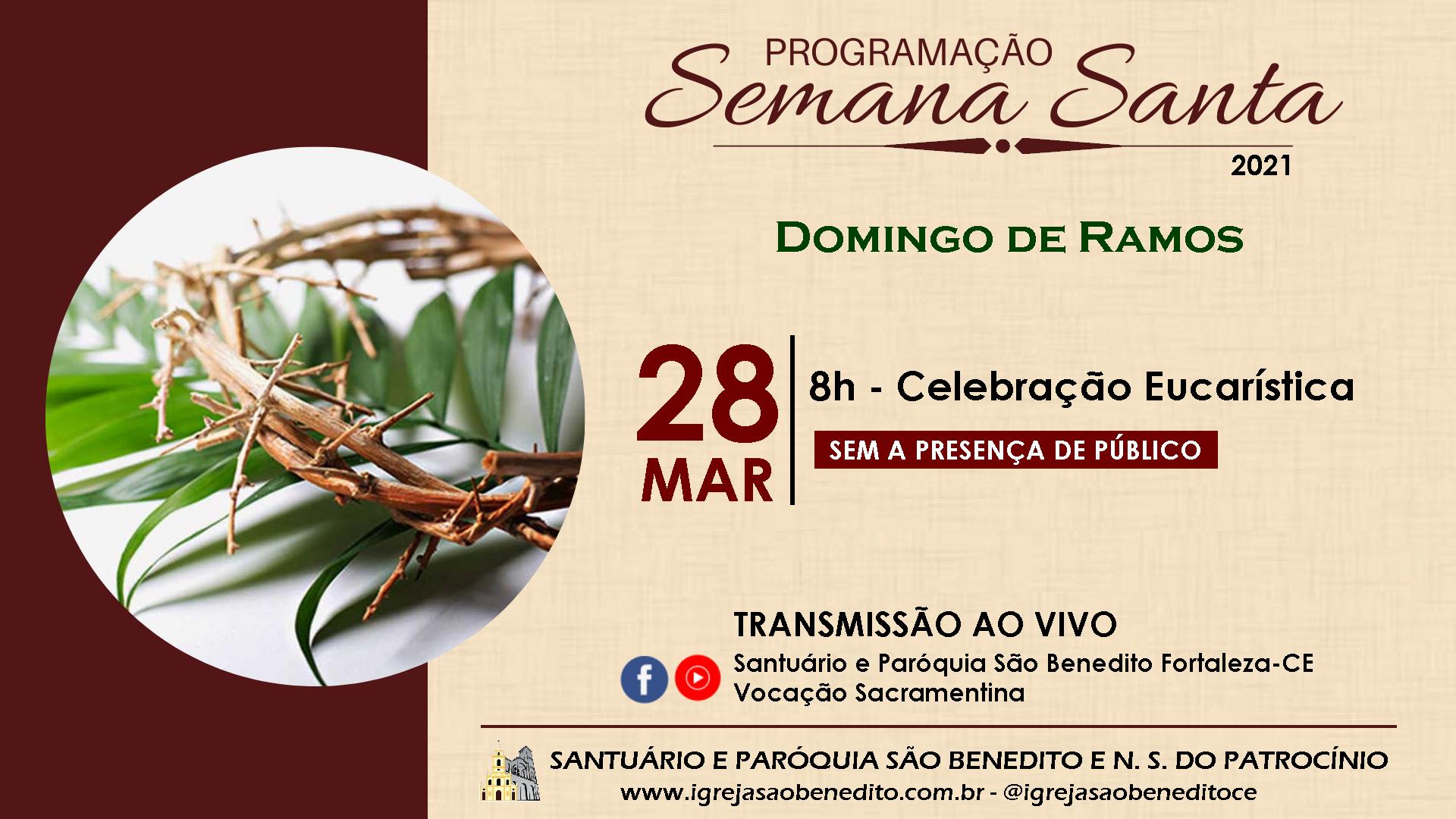 Solenidade de Ramos será transmitida neste domingo, sem a presença dos fiéis!
