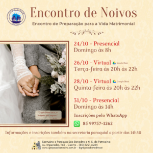 Inscrições abertas para o Encontro de Preparação para a Vida Matrimonial na Paróquia São Benedito.