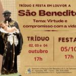 Participe do Tríduo e Festa em honra a São Benedito, de 02 a 04/10 e 05/10